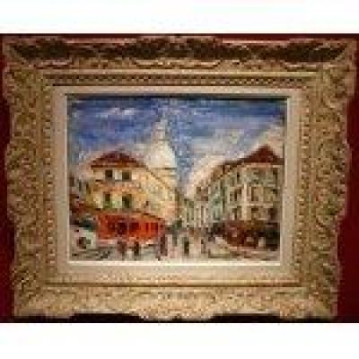 Genin Lucien Painting 20th Paris Montmartre Street Norvins Painting XXth Oil On Canvas Signed