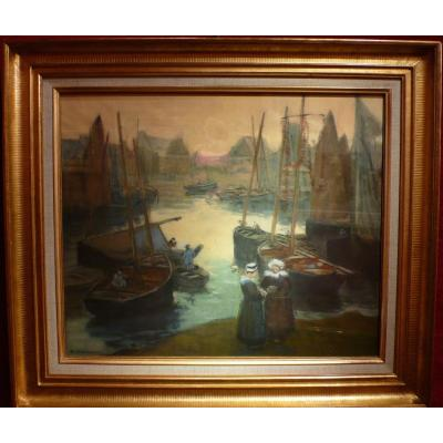 Barnoin Henri Painting Old 20th Brittany Return Of Fishing At Concarneau Pastel Signed