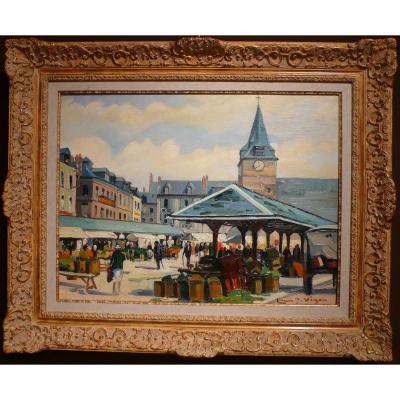 Louis Vigon Painting 20th School Of Rouen Place Of The Market Villers Sur Mer Oil Canvas Signed