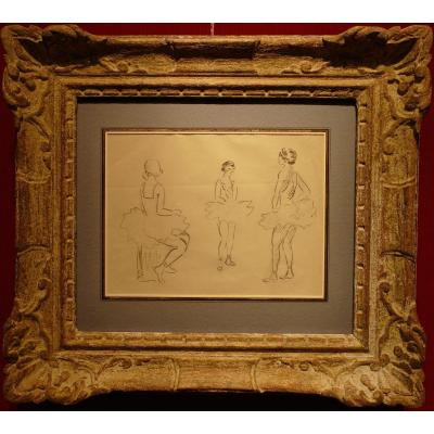 Cosson Marcel Drawing Signed Early 20th Century Dancers In Rehearsal