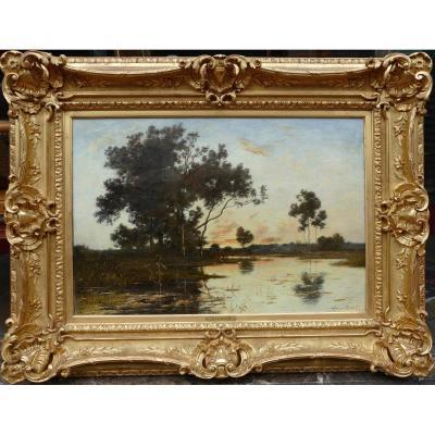 Richet Leon Painting XIX Barbizon School French Landscape 19th Oil On Canvas Signed