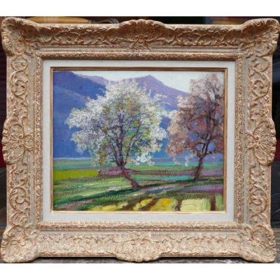 Charreton Victor Painting Postimpressionist Early Twentieth Landscape Sunny Oil Painting Signed