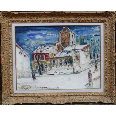 Genin Lucien Painting 20th View Of Paris Montmartre Cabaret Lapin Agile Oil On Canvas Signed