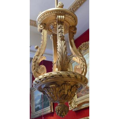 Lantern Style Louis XIV Wood Sulpted And Golden