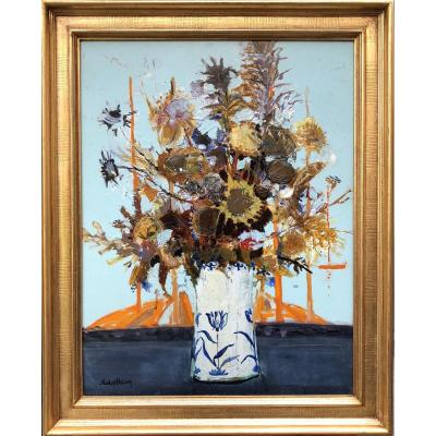 Michel Henry Painting 20th Bouquet Of Thistles From Spain 1959 Oil On Canvas Signed