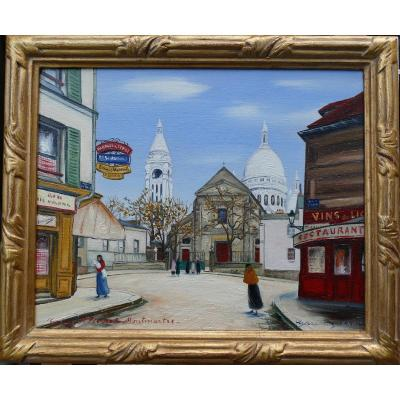 Gazi Le Tatar Montmartre Oil On Canvas Signed And Located