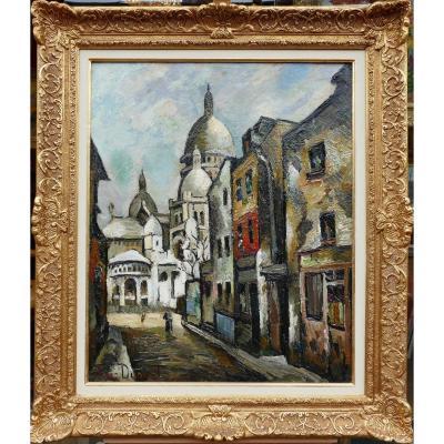 Dumont Pierre Painting 20th Paris Montmartre Sacre Coeur Chevalier Street Oil Signed