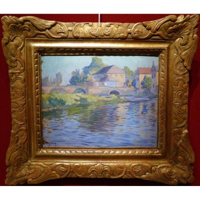 Madeline Paul French Painting Early 20th Century Crozant School Bridge On The Creuse Oil Signed