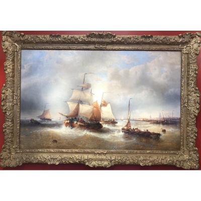 Musin François Ecole Belge 19è Marine Navires Quittant Le Port Peinture XIXè Huile Toile Signée