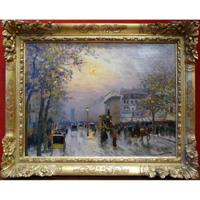 Pavil Elie Anatole Painting View Of Paris The Grands Boulevards Oil On Canvas Signed