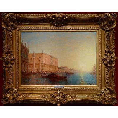 Calderon Charles Clément Painting Venice The Basin Of Saint Mark Sunny Oil Canvas Signed