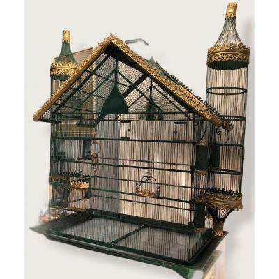Large Golden And Lacquered Metal Bird Cage Late Nineteenth