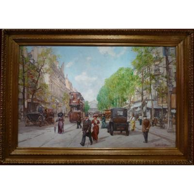 Leon Zeytline Russian School 20th Century Paris Tramway, Carriages And Automobiles Oil Signed