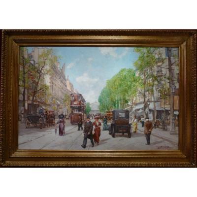 Leon Zeytline Ecole Russe 20è Siècle Paris Tramway, Calèches Et Automobiles Huile Signée