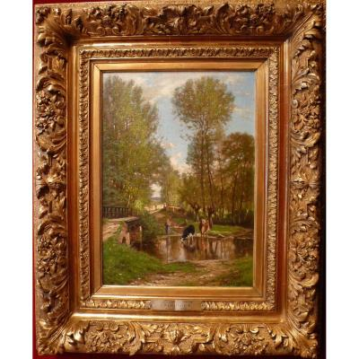 Georget Charles Painting XIXth Century Landscape Around De Melun Oil On Canvas Signed