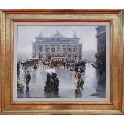 Alfredo Palmero De Gregorio Tableau 20è Siècle Paris Place De l'Opéra Animée Huile Toile Signée