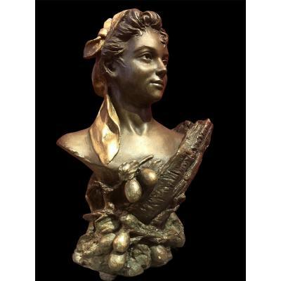 Buste De Femme Par Pierre Campagne Sculpture 19è