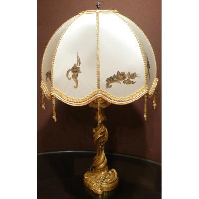 Luminaire Pied De Lampe Ancien En Bronze Doré Fin XIXème Siècle Signé Gagneau