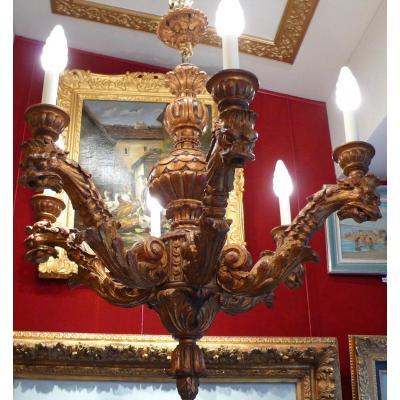Lustre En Bois Sculpte Six Branches De Lumieres Style XVIIème Siecle