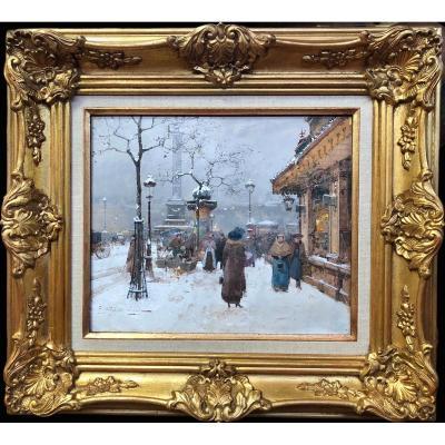Galien Laloue Eugène Tableau Début 20è Siècle Paris Animation Place La Bastille Gouache Signée