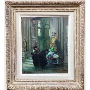 Herve Jules René Tableau Impressionniste XXè Les Bigotes à l'église à Langres Huile Sur Panneau