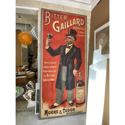 Very large old poster by Frank Malzac in 1898. Bitter Gaillard original vintage poster, canvas, framed. this extremely rare poster is in fair condition despite its great age of over 120 years. It has several accidents and traces of old restoration which does not detract from its value and its great decorative potential. 300cm x 130cm