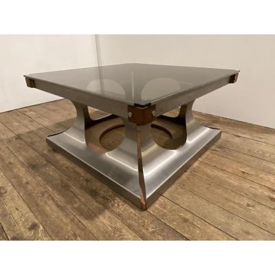 Table Basse Design 1970 Acier, Verre Et Bois