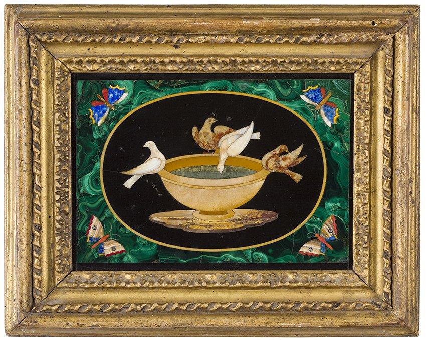 Plaque De Marbre Et Pierres Dures , Florence , XIXe Siècle