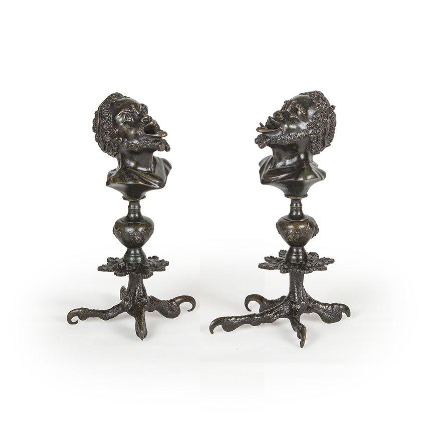 Paire De Lampes à Huile En Bronze , XIXe Siècle