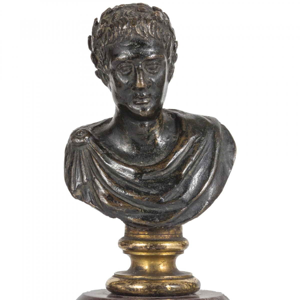 Petit Buste En Bronze De Jules Cesar, XVII Siecle-photo-2