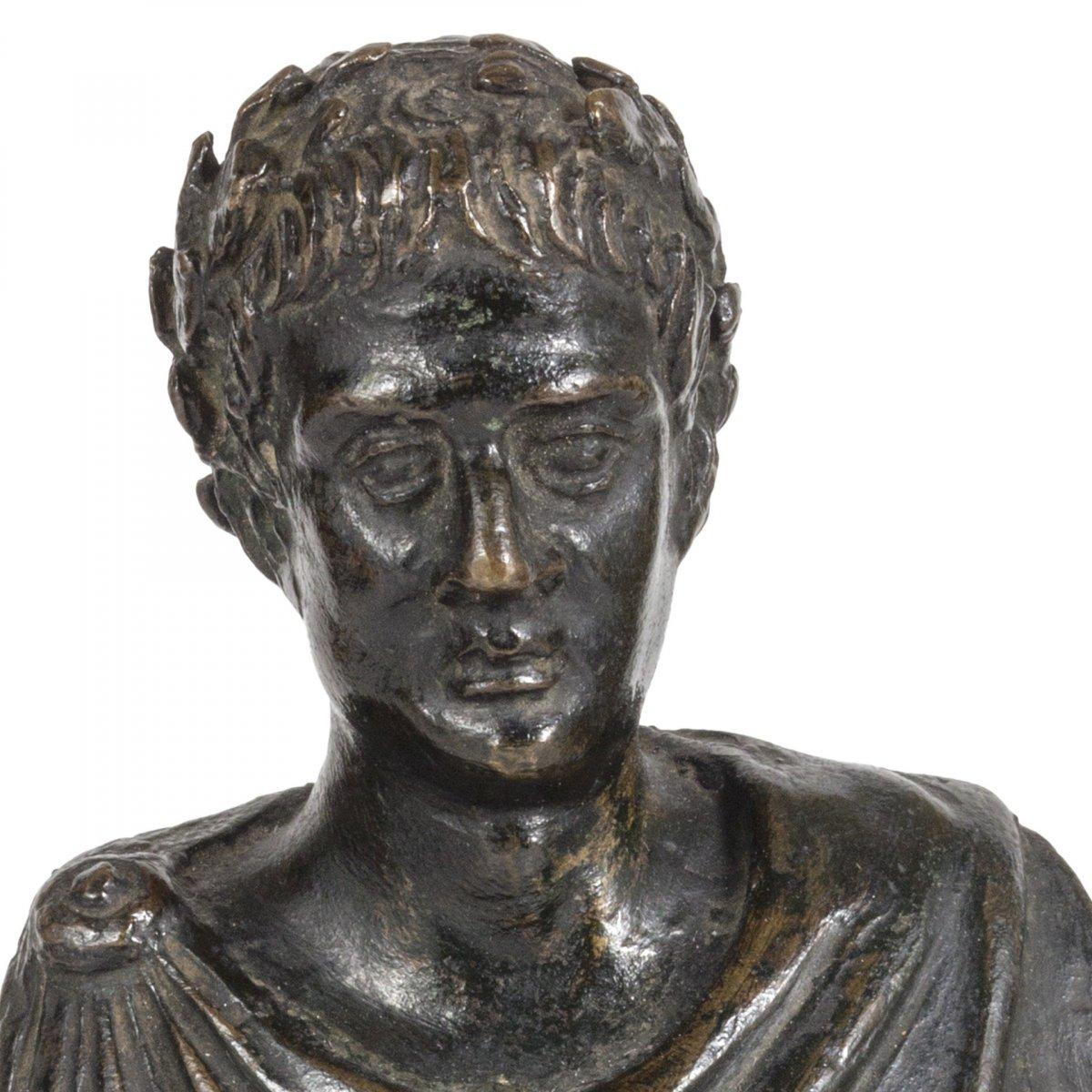 Petit Buste En Bronze De Jules Cesar, XVII Siecle-photo-3