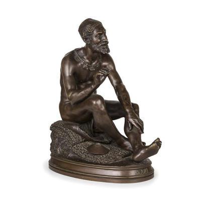 Sculpture En Bronze D' Un Philosophe Arab , XIXe siècle