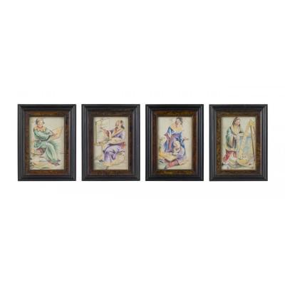 Serie de Seize Acquarelles à Chinoiserie , Piedmont ,  Première Moitié XIXe Siecle