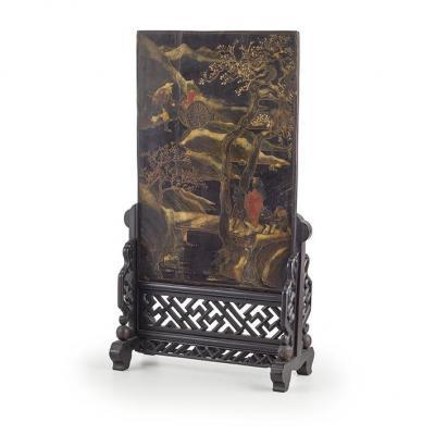Un Paravent De Table Laqué, Chine , Qing Dynastie , XIXe Siècle