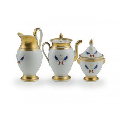 """Service à The' En Porcelaine , Commémoratif Des """"les Trois Glorieuses  """"  , XIXe Siècle"""