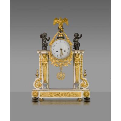 Pendule Portique Louis XVI En Marbre Et Bronze , Epoque XVIIIe Siecle