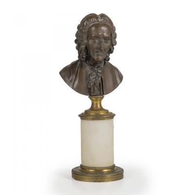 Petit Buste En Bronze De Un Noble, XVIII Siecle