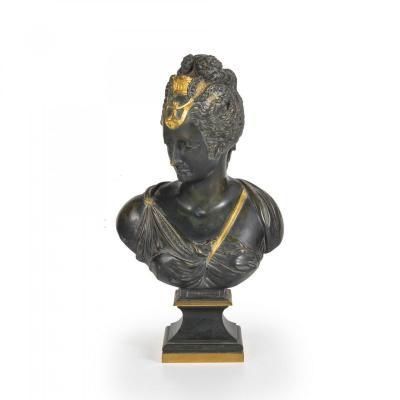 Buste En Bronze De Une Noble, XIX Siecle