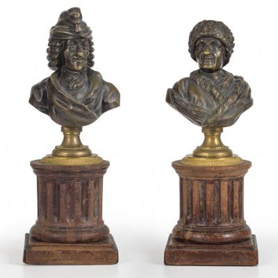 Pair Of Busts In Bronze. France. XIX Century