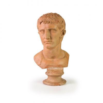 Buste En Terre Cuite Representant Cesare Ottaviano Augusto, XIXe Siecle