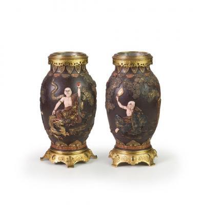 Pair Of Terracotta Vases, Japon, XIX Century