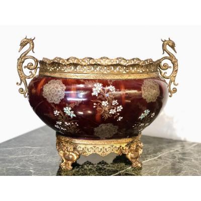 Planter, Table Center, Cache Pot. Earthenware, Bronze, Brass. Late 19th Century.