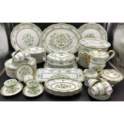 Porcelain Table And Coffee Service 73 Pieces. Haviland Limoges Green Tree