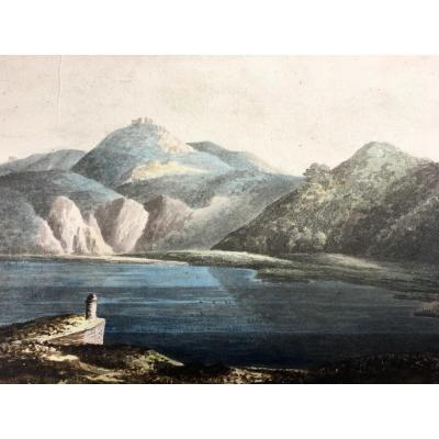 19th Century Watercolor, Lake Landscape, Italy Or Switzerland?