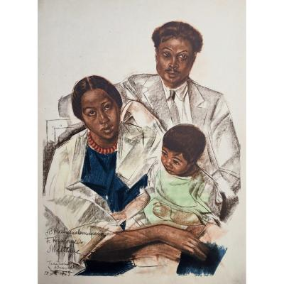 Portrait Of Malagasy Family, Lithograph After Iacovleff, The Black Cruise
