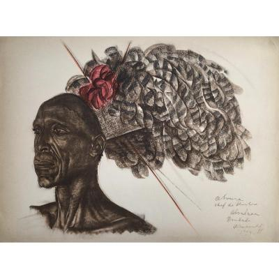 Portrait Of African Chef, Lithograph After Iacovleff, The Black Cruise