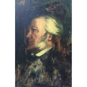 Portrait Of Wagner? Oil On Panel Nineteenth, Trace Of Signature