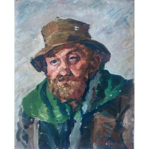 Portrait Of Man With Hat, Oil On Canvas Signed And Dated 38