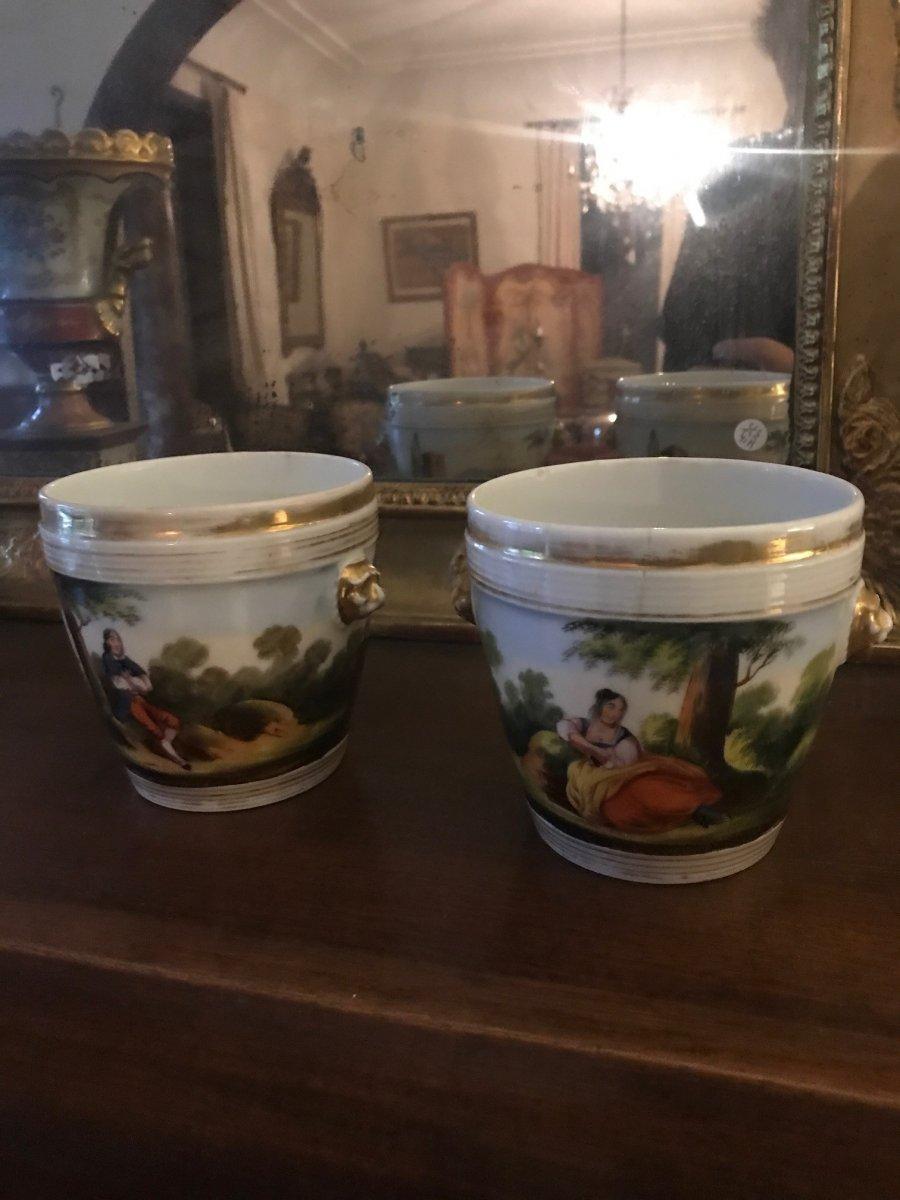 Pair Of Old Paris Vases - End XVIII Century