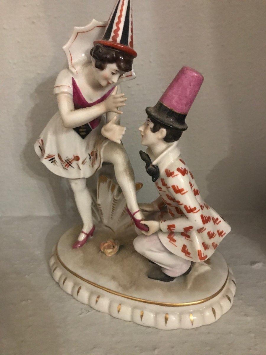 Comedia Dell'arte- Porcelaine Vieux Paris- XIX ème Siècle